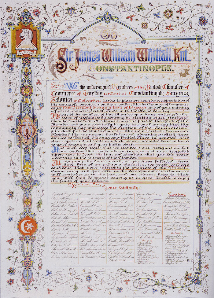 Gratitude document by the Chamber to Sir James William Whittall, the first president issued with his resignation after 19 years of service