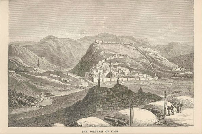 Engraving Russia Fortress of Kars, 1880