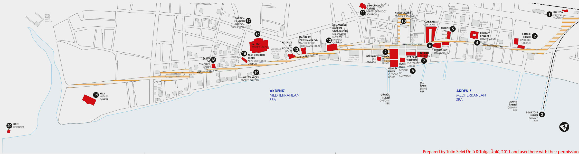 Panorama Map Of The Mersin Seafront Showing Some Of The Prominent - Mersin map