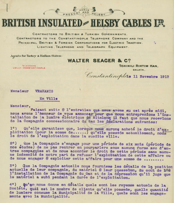 Walter Seager company business letter