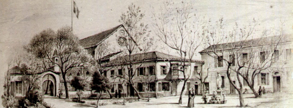 The drawing of the French Hospital of Smyrna done by Raymond Charles Péré, done in 1900. Raymond Charles Péré (1854–1929) was a French architect, who was born at Roquefort-de-Marsan in the Landes France and arrived originally as a French teacher in 1880 at Smyrnia (Izmir), married there Anaïs Russo and spent the rest of his life in İzmir, Turkey. He is best remembered as the designer of the İzmir Clock Tower, the landmark of İzmir situated at city's Konak Square.