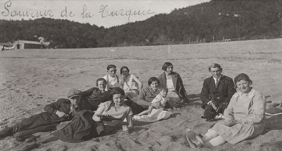 A group of Belgian mining engineers and their families relax on the local beach of Zonguldak, the coal mining region of Black Sea Turkey, 1930.